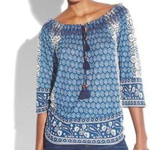 Lucky Brand Emery Smocked Peasant 3/4 Sleeve Top